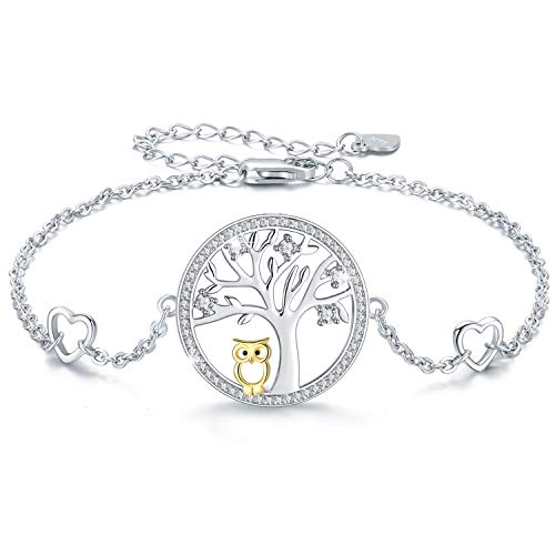 MEDWISE Women Tree of life Owl Wisdom Bracelet 925 Sterling Silver Adjustable Bracelet Charm Chain Jewelry Gifts for Her