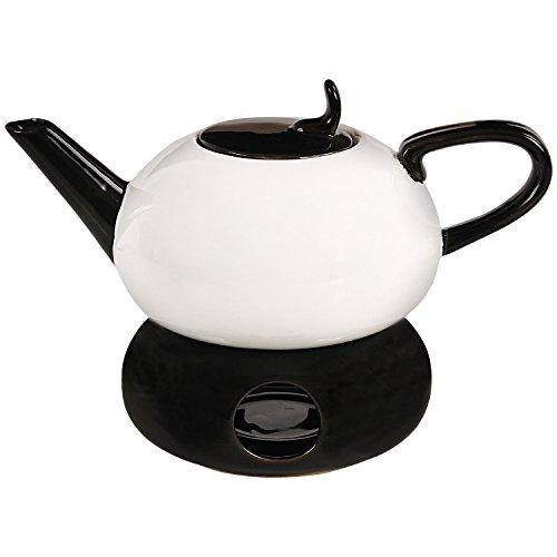 PAME 09386-Teiera con Base in Ceramica con Filtro, 20 x 18 x 12 cm, Cotone da 600 ml