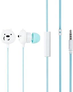 MINISO x We Bare Bears - Auriculares in-ear con micrófono, cómodos auriculares lindos para teléfonos móviles Apple Xiaomi Realme Oppo Samsung - Azul
