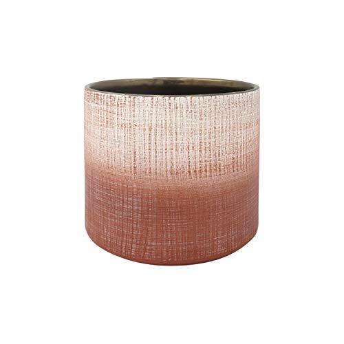 Amazon Brand - Rivet Rustic Stoneware Crosshatch Indoor Outdoor Flower Plant Pot, 6.25'H, Coral