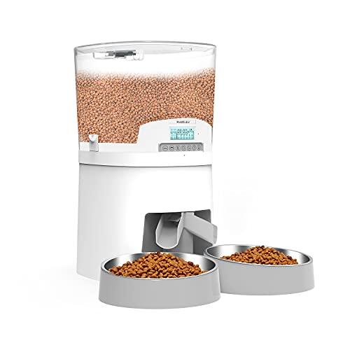 7L dispensador de alimentación automático para Dos Mascotas, WellToBe Comedero automático Gatos y Perros, Programable con Temporizador hasta 6 Comidas al día, Grabadora de Voz y Altavoz (White)