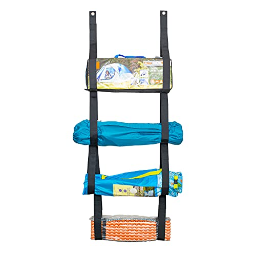 Strong Multi-Purpose Camping Chair Organizer for Garage Storage | Garage Wall Organizer for Camping Equipment and Garage Storage | Quality Hanging Storage Organizer (Black)
