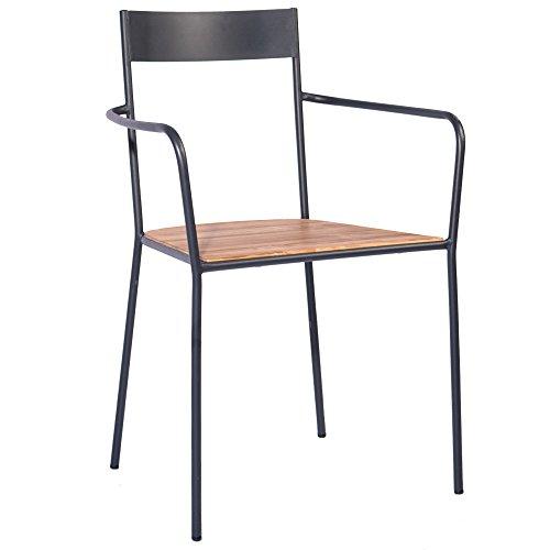 Indhouse, sedia per ristorante loft in stile industriale in metallo e legno