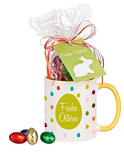 Bunte Tasse 'Frohe Ostern!' - mit Schokolade, Kaffeebecher, Geschenkidee, Ostergeschenk, Geschenk zu Ostern, zur Osterzeit, für Mann / Frau, für Kinder, für den Bruder / die Schwester (gelbe Tasse)