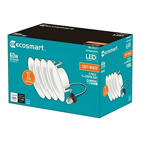 EcoSmart 4 in. White Integrated LED Recessed Trim Soft White 4-Pack