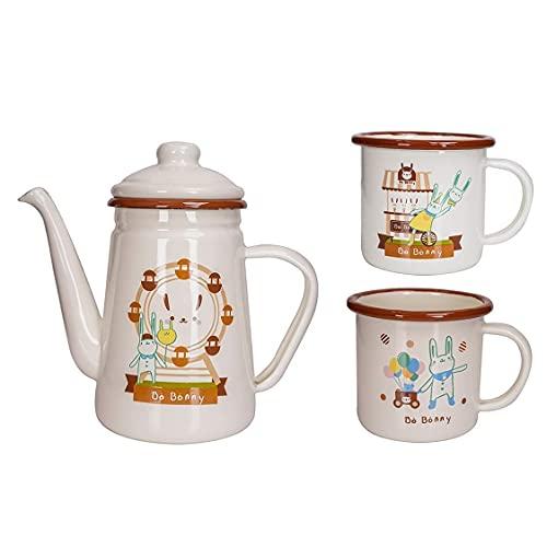 Kettle Juego de 3 Tazas de café esmaltadas, Olla Vintage, Tetera de Agua Blanca para Cocina de inducción, encimera o Estufa a Gas, hervidor con Filtro, Mango antiescarcha, Tapa Taza Exquisita