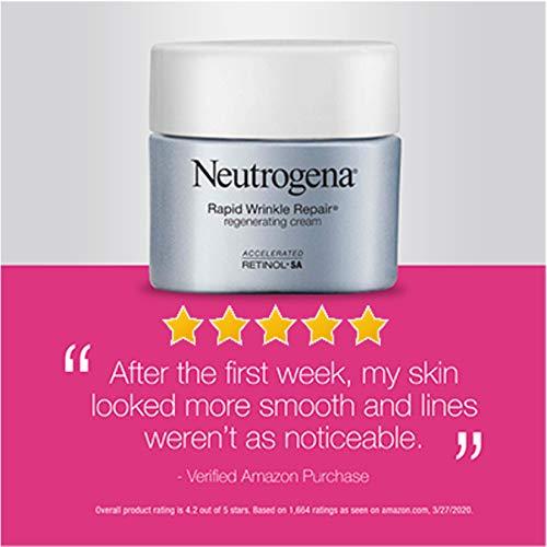 41tlch b0OL - Neutrogena Rapid Wrinkle Repair Retinol Regenerating Anti-Aging Face Cream & Hyaluronic Acid; Anti-Wrinkle Retinol Moisturizer & Neck Cream, with Hyaluronic Acid & Retinol, 1.7 oz