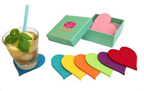 Acadwly®, set van 8 kunstenaarsonderzetters van vilt, Italiaans design, elegant, voor bekers, mokken, cocktails, avondeten, kerstcadeau