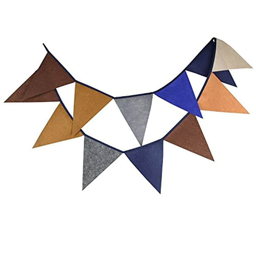 INFEI Multi-colored Felt Flags Bunting Banner Garlands for Wedding, Birthday Party, Outdoor & Home Decoration (Brown)