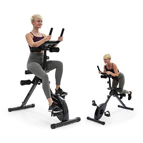 Capital Sports Fusion Bike Fitness-Fahrrad mit magnetischem Widerstand, 3-in-1 Heimtrainer, Cardio-/Standing Bike, AB Trainer, Riemenantrieb mit SilentBelt System, Tablet-Halterung, schwarz