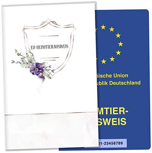 Cosmo EU-huisdierkaart, hoes, honden, dierkaart, beschermhoes, mooi cadeau-idee, personaliseerbaar met naam en geboortedatum EU-Heimtierausweis Blanco bloemen.