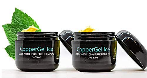 CopperGel ICE - Joint and Muscle Rubs - 2 Pack x 2 Fl Oz - 100% Pure Hemp Oil - with Menthol for Rapid Cooling - Penetrates Deep Into The Skin