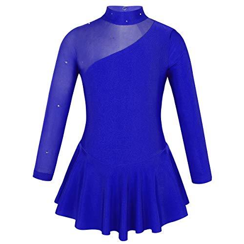 TiaoBug Enfant Fille Justaucorps de Danse Ballet Gymnastique Robe Patinage Artistique Robe à Manche Longue Strass Robe Sport Latine Body Yoga 4-14 Ans Bleu Royal 6 Ans