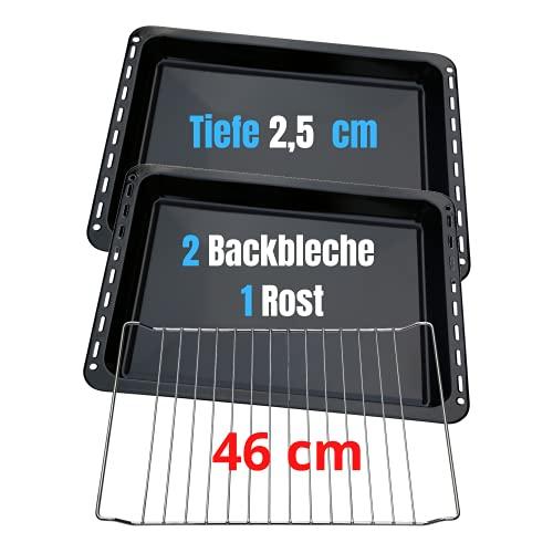 UNIQDEALZ 460x370x25 mm 3er Sparset mit 2 Backbleche und 1 Backrost passend für Bosch / Siemens / Constructa / Neff Teile Nr. 675876 und 662999 / Balay / Profilo / Samsung / Gorenje / Teka / Beko