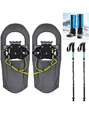 SqSYqz 40 cm snösko för barn för pojkar och flickor upp till 10 lbs, lättviktig aluminiumlegering terräng snöskor med vandringsstavar och vattentäta bendamasker
