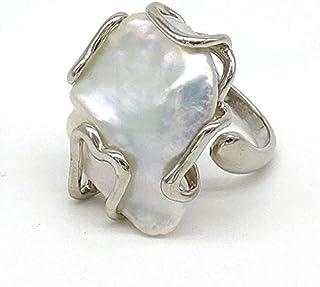 Anello regolabile con perla di fiume barocca in bronzo, fatto a mano, pietre dure naturali
