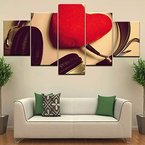 QWERGLL 5 Panel/Stück Hd-Druck Nehmen Sie Kopfhörer Rotes Herz Liebe Mode Wandplakate Leinwand Kunst Malerei Für Zu Hause Wohnzimmer