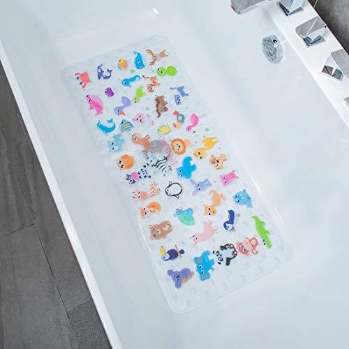 BeeHomee Rutschfeste Badewannenmatte für Kinder – 88,9 x 40,6 cm, Größe XL, rutschfest, für Kleinkinder, Kinder, Baby-Bodenmatten (Zoo)