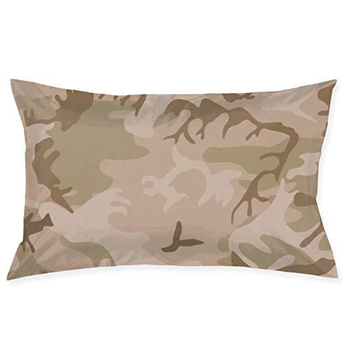 KCOUU - Funda de cojín de camuflaje para cama de matrimonio, suave, color liso, color verde, resistente a las arrugas, transpirable, de Kcoruu