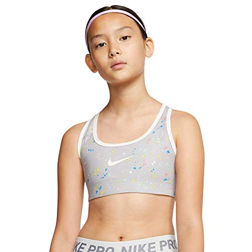 Nike Mädchen G NP Bra Classic REV AOP Sport-BH, Atmosphäre-grau/Segel/Segel, XL
