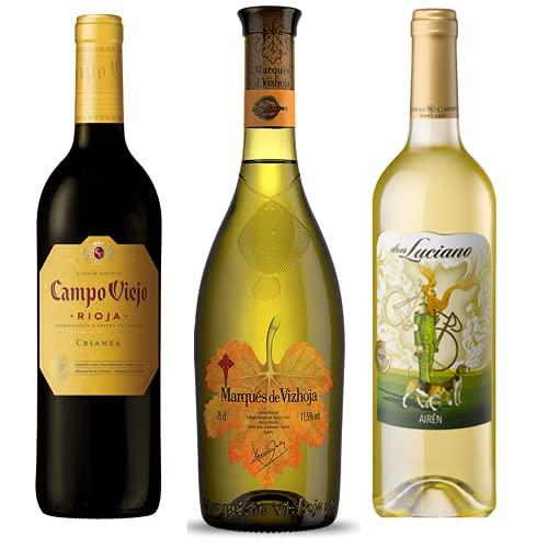Vino para regalar - Caja de vino tinto y blanco D.O I Campo Viejo Crianza, Marqués de Vizhoja y Don Luciano I Regalo Original