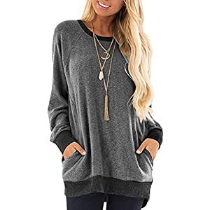 Women's Casual Long Sleeve Round Neck Pocket T-Shirts Blouses Tunic S...
