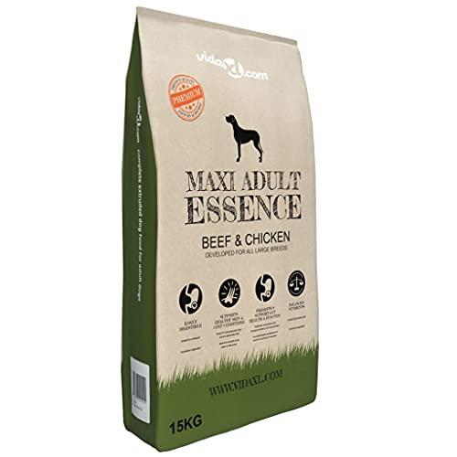 Alimento seco para Perros Adultos, Alimento para Perros Senior Alimento seco Premium para Perros Maxi Adult Essence Carne de Vacuno y Pollo 15 kg