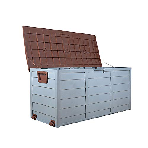 JL Outdoor Waterproof Plastic Garden Storage Deck Container Box toy box chest shed 300 Litre with wheels (GREEN)