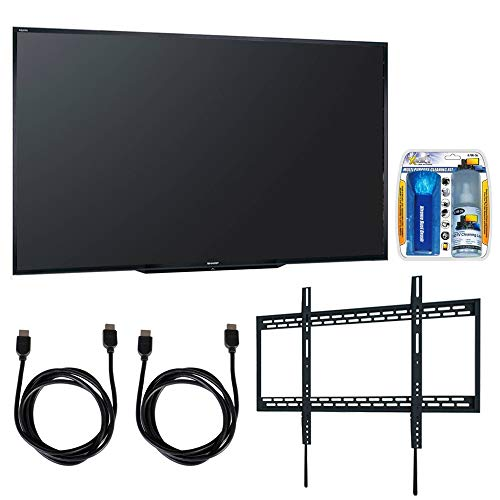 Sharp PN-LE901 90' Class 1920X1080 Commercial LCD HDTV Display w/Wall Mount Bundle Includes, Ultra Slim Low Profile Flat Wall Mount for 60-100 TVs, TV/LCD Screen Cleaning Kit and 2X HDMI Cable