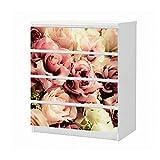 Set Möbelaufkleber für Ikea Kommode MALM 4 Fächer/Schubladen Blume Blumen Muster Rosen braun weiss Vintage Hintergrund Aufkleber Möbelfolie sticker (Ohne Möbel) Folie 25B1160