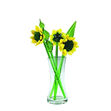 NEW Hand Blown Glass Yellow Sunflower and Leaves Set with Glass Vase and Red Ladybug