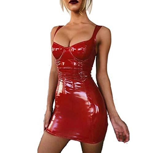 SHANGLYJ Damen Latex Kleid Ärmellos V-Ausschnitt Bodycon Verein Kunstleder Minirock,Rot,M