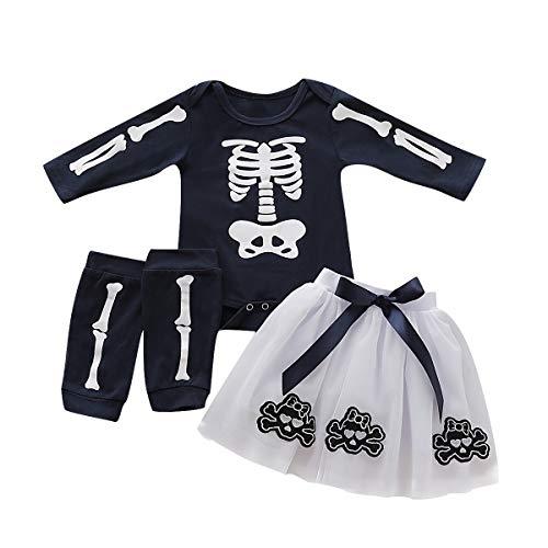 Completi per Halloween per Bambine, Set di scaldamuscoli per Gonna con teschio di scheletro per Bambini piccoli (18-24 Mese, Nera)