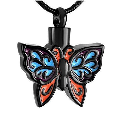 CLKE Collier urne funéraire en forme de papillon - Pour femme, 30x25mm,