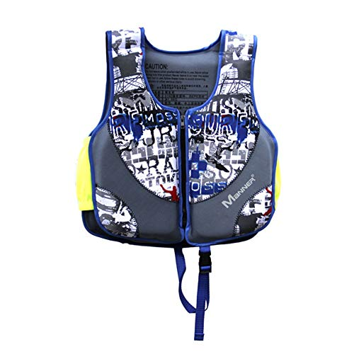 CCVL Professional Babies' Swim Vest, Children's Swim Jacket, Swimming Training Buoyancy Aid Suitable for Children 8-10 Years Old and Weighing 15-30kg,Blue