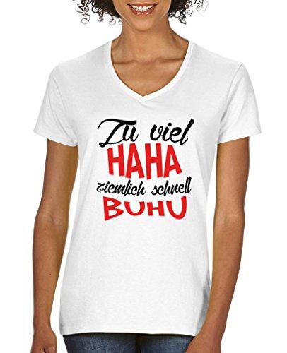 Comedy Shirts T-shirt à manches courtes pour femme Col en V 100 % coton - Blanc - XL