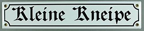 Buddel-Bini Straßenschild Kleine Kneipe 40x8 cm Türschild Kneipenschild Email Strassen Schild Emaille