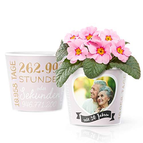 30. Hochzeitstag Geschenk – Blumentopf (ø16cm) | Deko Geschenke zur Perlenhochzeit für Mann oder Frau mit Herz Bilderrahmen für 1 Foto (10x15cm) | Glücklich Verheiratet - 30 Jahre