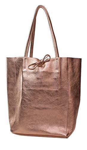 Ital Echt Leder Ledertasche Damentasche Handtasche Shopper Schultertasche (Kupfer metallic)