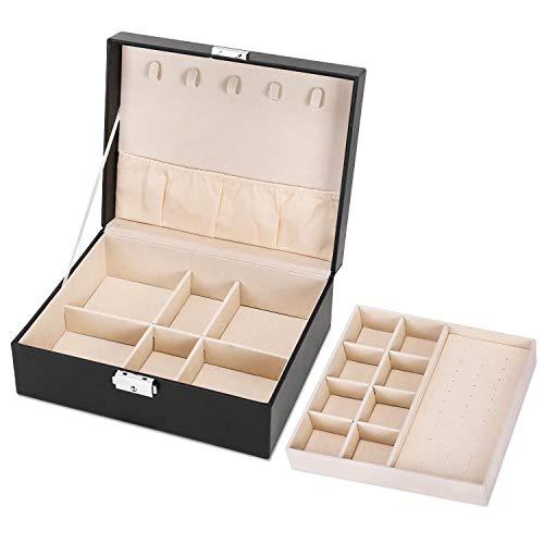 Gifort Caja Joyero, Organizador Joyas de Cuero PU con 2 Capas para Anillos, Collares, Relojes y Pendientes, Jewelry Organizer para Mujer y Niña, Regalo Ideal, Negro