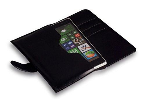 Bookstyle Handytasche Flip Hülle schwarz geeignet für Alcatel One Touch Idol 3 5.5 Zoll Handy Schutz Hülle Etui Cover