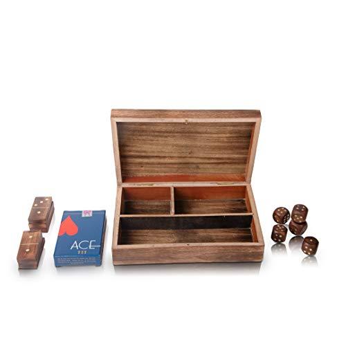 Große Geschenkideen Holzspielkartenbox mit 5 Würfeln und 28 Domino-Fliesen Spielset Deck Packetui Halter Aufbewahrungszubehör Veranstalter mit Spielkarten Klassischer Spaß Pädagogische Zahlen