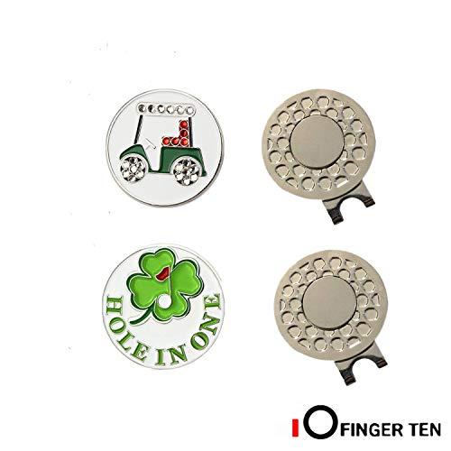FINGER TEN Golf Ball Marker Hat Clips Magnetisch Set of 3/4/5/6 Stück Geschenk Mütze Clips mit Ballmarker oder nur Cap Clip Anzug Für Herren Damen Kinder (2 Hat Clips+2Ball Markers)