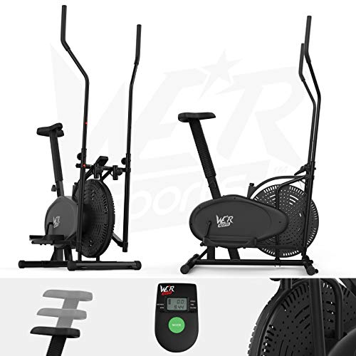 We R Sports® 2-IN-1 Elliptical Cross Trainer & Exercise Bike Fitness Cardio Workout With Seat (Black)