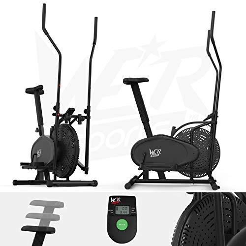 We R Sports 2-in-1 Ellittico Attraversare Allenatore & Esercizio Bici Fitness Cardio Allenamento con Sede (Nero)