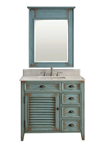 Abbeville Rustic Distressed Blue Bathroom Sink Vanity & Mirror Set CF-78887BU-MIR