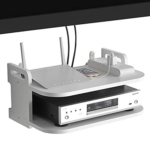 JF-TVQJ Soporte De Consola De TV Flotante Soporte De Control Remoto, Caja De Almacenamiento Decodificadora Estante De Almacenamiento De Teléfono, 2 Niveles/Fácil De Limpiar