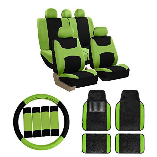 FH Group FB030115 Combo Set: Light & Breezy Cloth Seat Cover Set Airbag & Split Ready W. FH2033 + F14407 Carpet Floor Mats, Green/Black- Fit Most Car, Truck, SUV, or Van