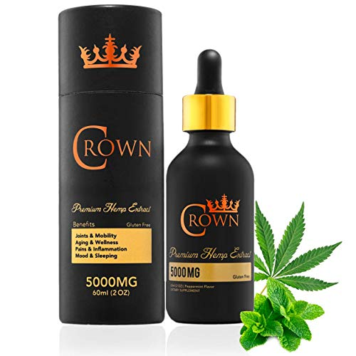 Crown Premium Pure Hemp Seed Oil - 1 Bottle, 5000mg, Peppermint Flavor - Plant-Based Omega 3 & 6 Supplement, Natural Stress, Anxiety & Pain Relief, Therapeutic Sleep Aid - Add to Your Favorite Drink!