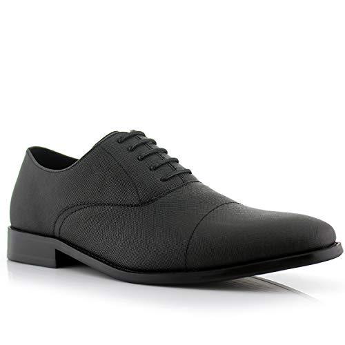 Ferro Aldo Garrett MFA19623L Men's Classic Memory Foam Vegan Leather Lace-Up Cap Toe Perforated Oxford Formal Dress Shoes – Black, Size 12